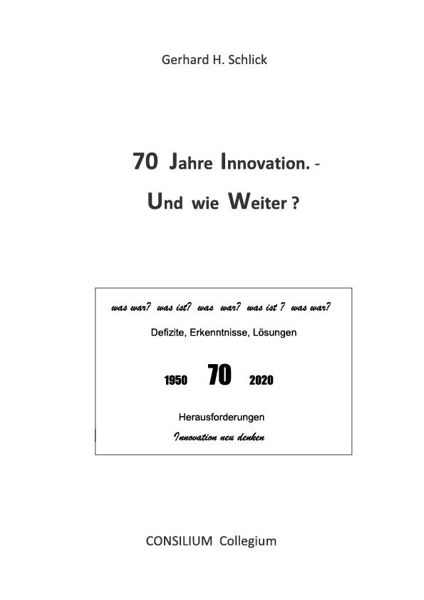 Cover zu 70 Jahre Innovation.- Und wie weiter?