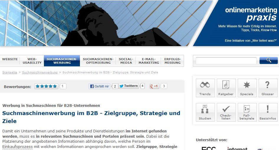 Cover zu Suchmaschinenwerbung im B2B - Zielgruppe, Strategie und Ziele