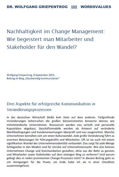 Cover zu Nachhaltigkeit im Change Management