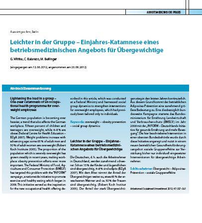Cover zu Leichter in der Gruppe: Einjahres-Katamnese eines betriebsmedizinischen Angebots für Übergewichtige