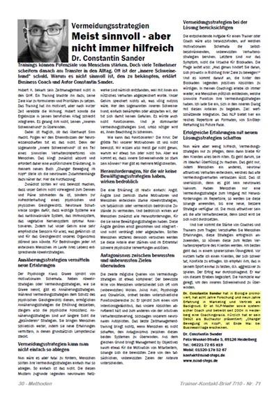Cover zu Vermeidungsstrategien: Meist sinnvoll - aber nicht immer hilfreich