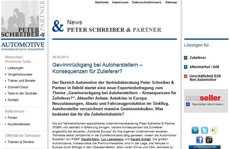 """Cover zu Online-Umfrage des PS&P Expertenbarometer """"Gewinnrückgang bei Autoherstellern – Konsequenzen für Zulieferer?"""""""