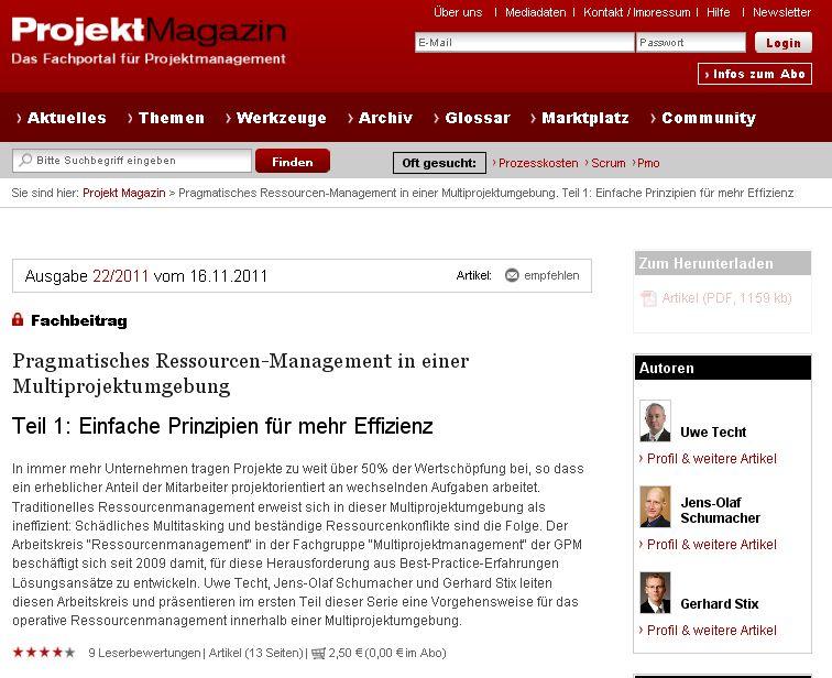 Cover zu Pragmatisches Ressourcen-Management in einer Multiprojektumgebung