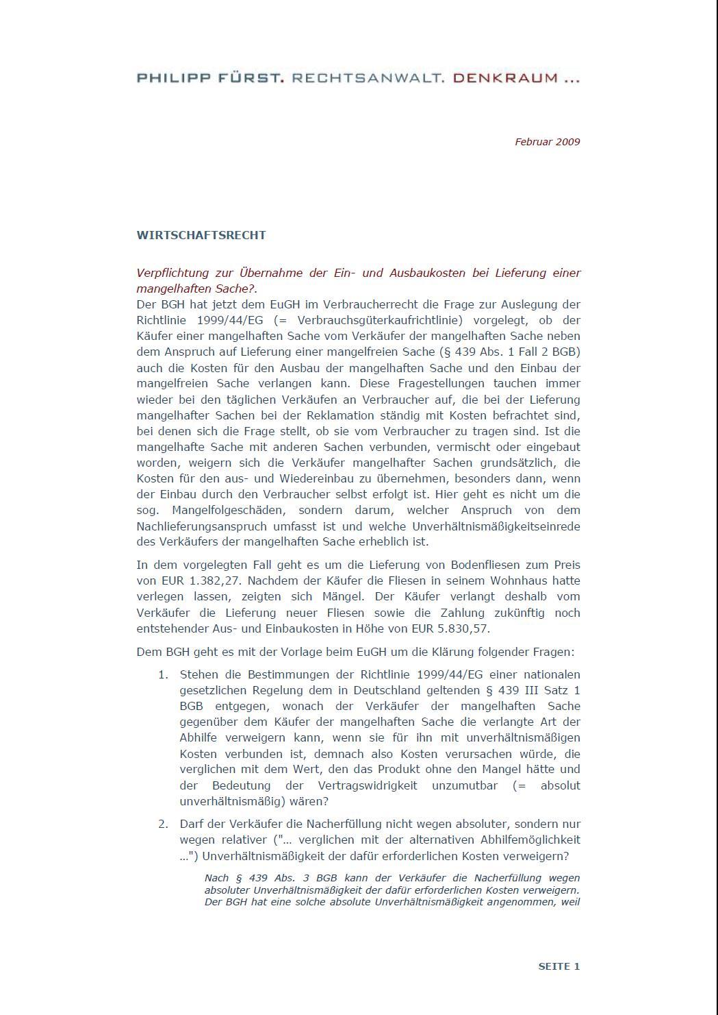 Cover zu Verpflichtung zur Übernahme der Aus- und Einbaukosten bei Lieferung einer mangelhaften Sache