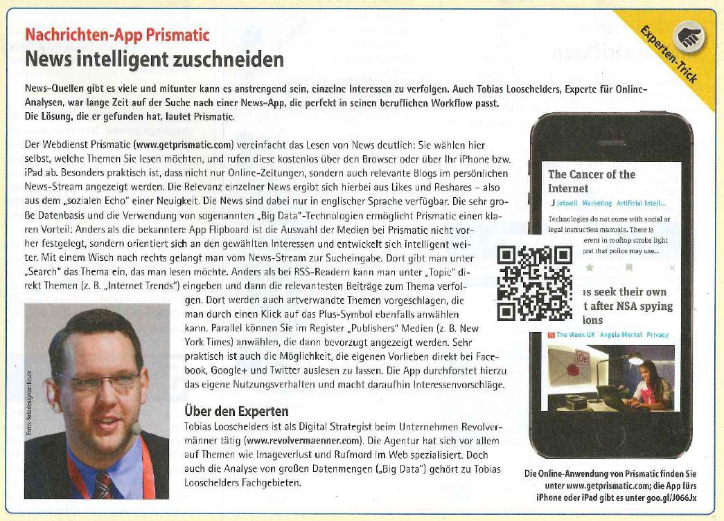 Cover zu Expertentipp PC Praxis 01/14: News-App Prismatic - News intelligent zuschneiden