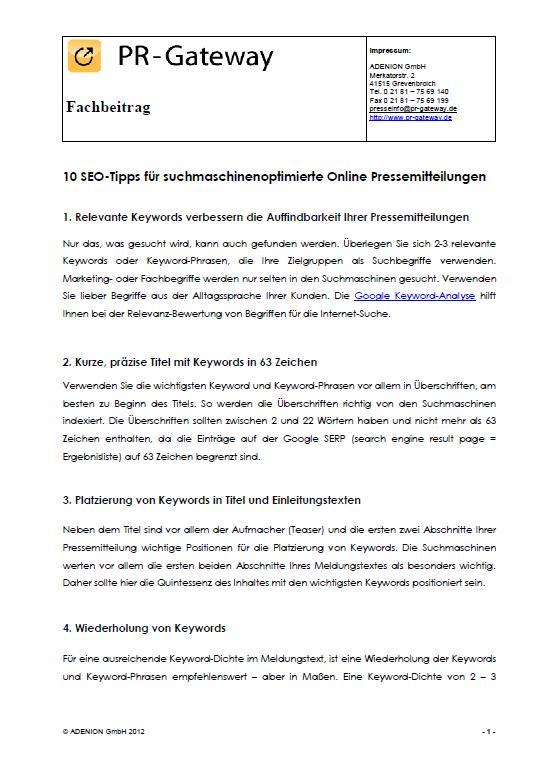 Cover zu 10 SEO-Tipps für suchmaschinenoptimierte Pressemitteilungen
