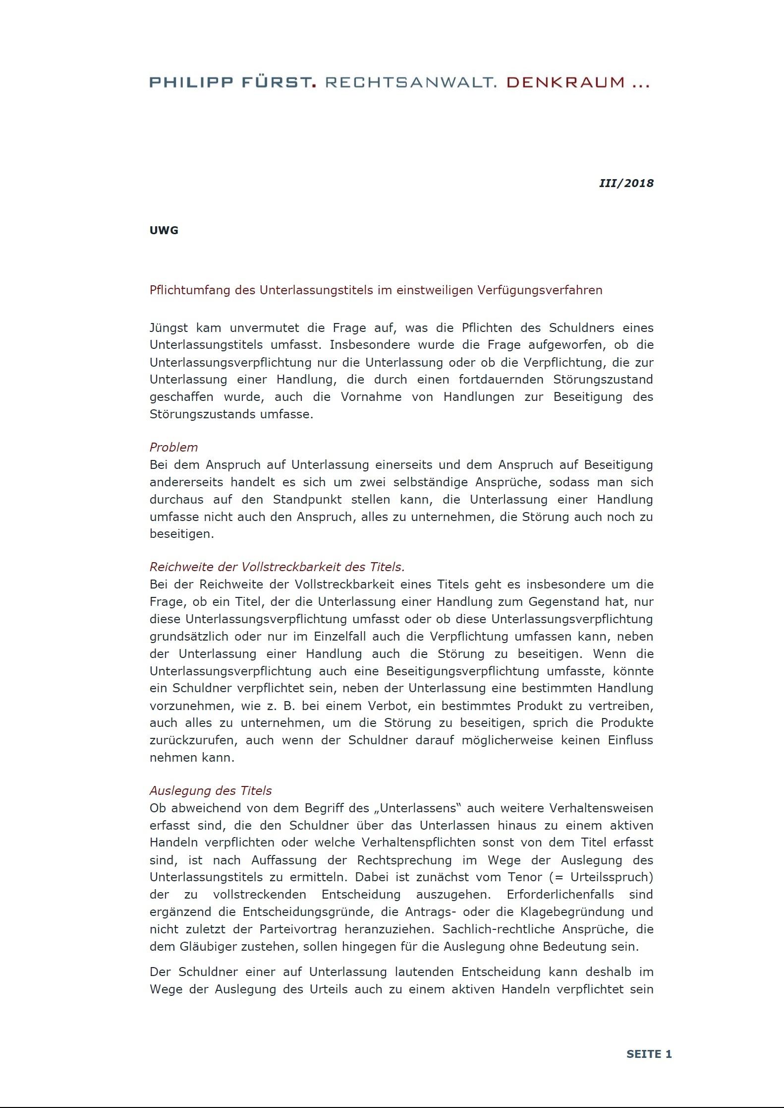 Cover zu Pflichtumfang der Unterlassungstitel im einstweiligen Verfügungsverfahren