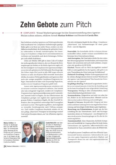 Cover zu Compliance & Agenturauswahlprozesse