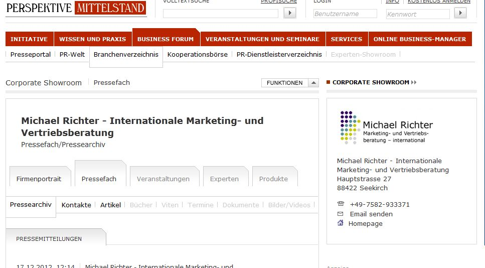 Cover zu Pressemitteilungen zum Internationalen Marketing