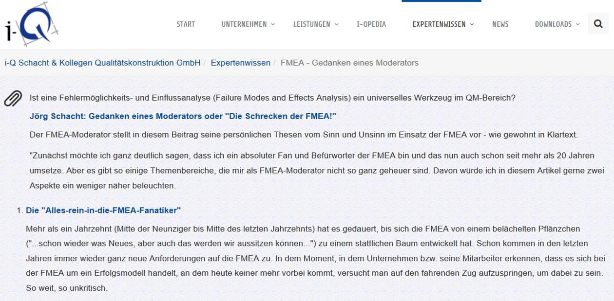 Cover zu FMEA - Gedanken eines Moderators