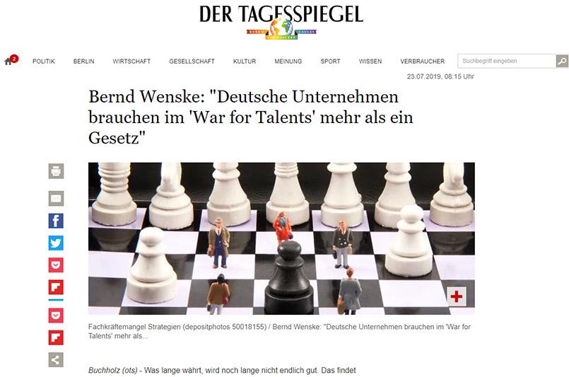 """Cover zu Bernd Wenske: Deutsche Unternehmen brauchen im """"War for Talents"""" mehr als ein Gesetz"""