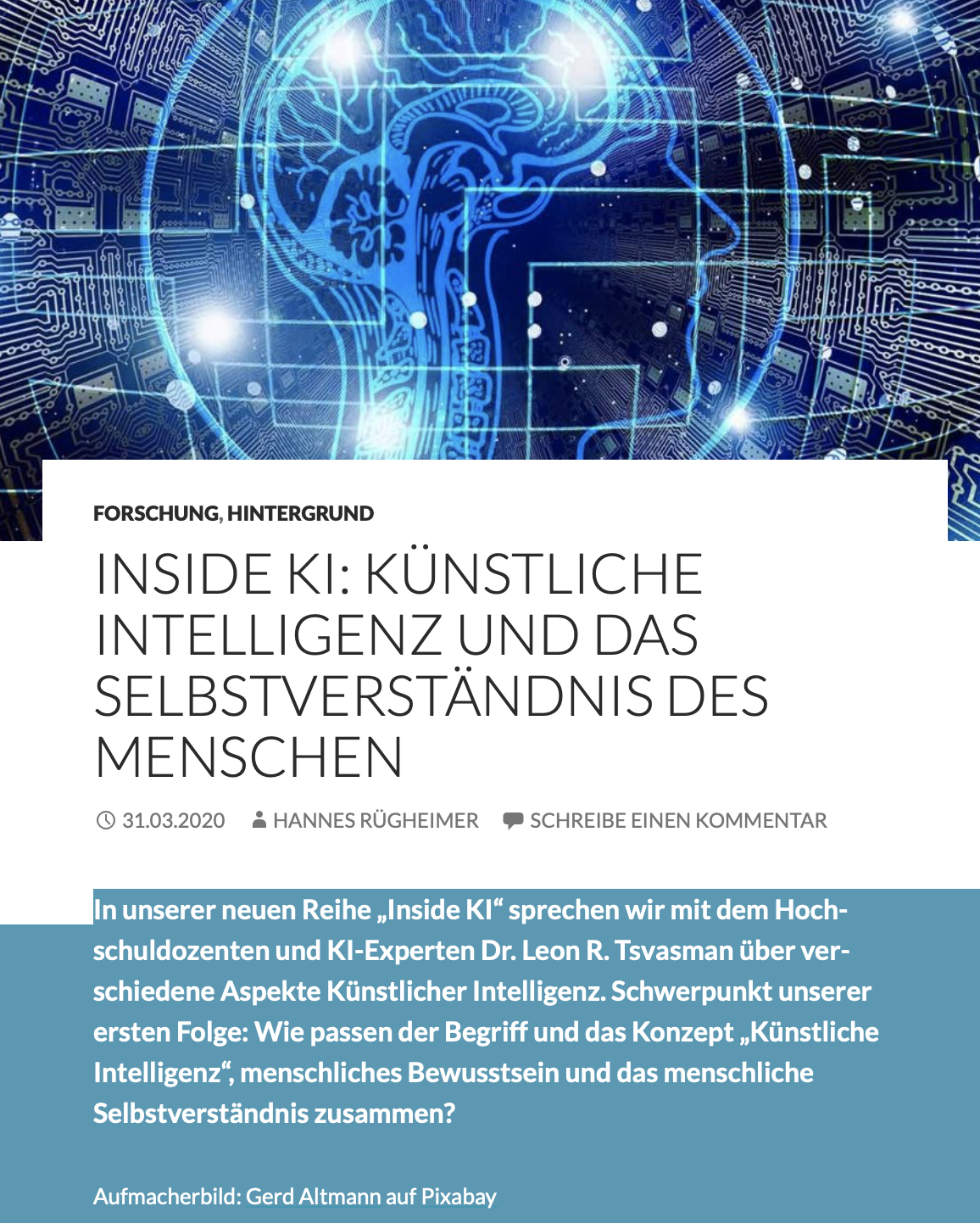 Cover zu Künstliche Intelligenz und das Selbstverständnis des Menschen