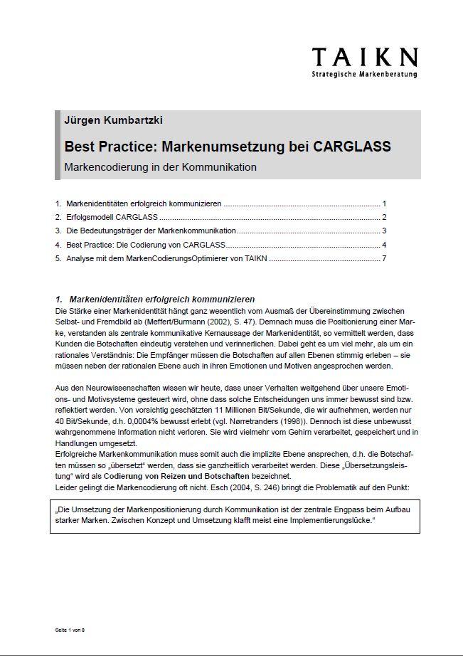 Cover zu Best Practice: Markenumsetzung bei CARGLASS