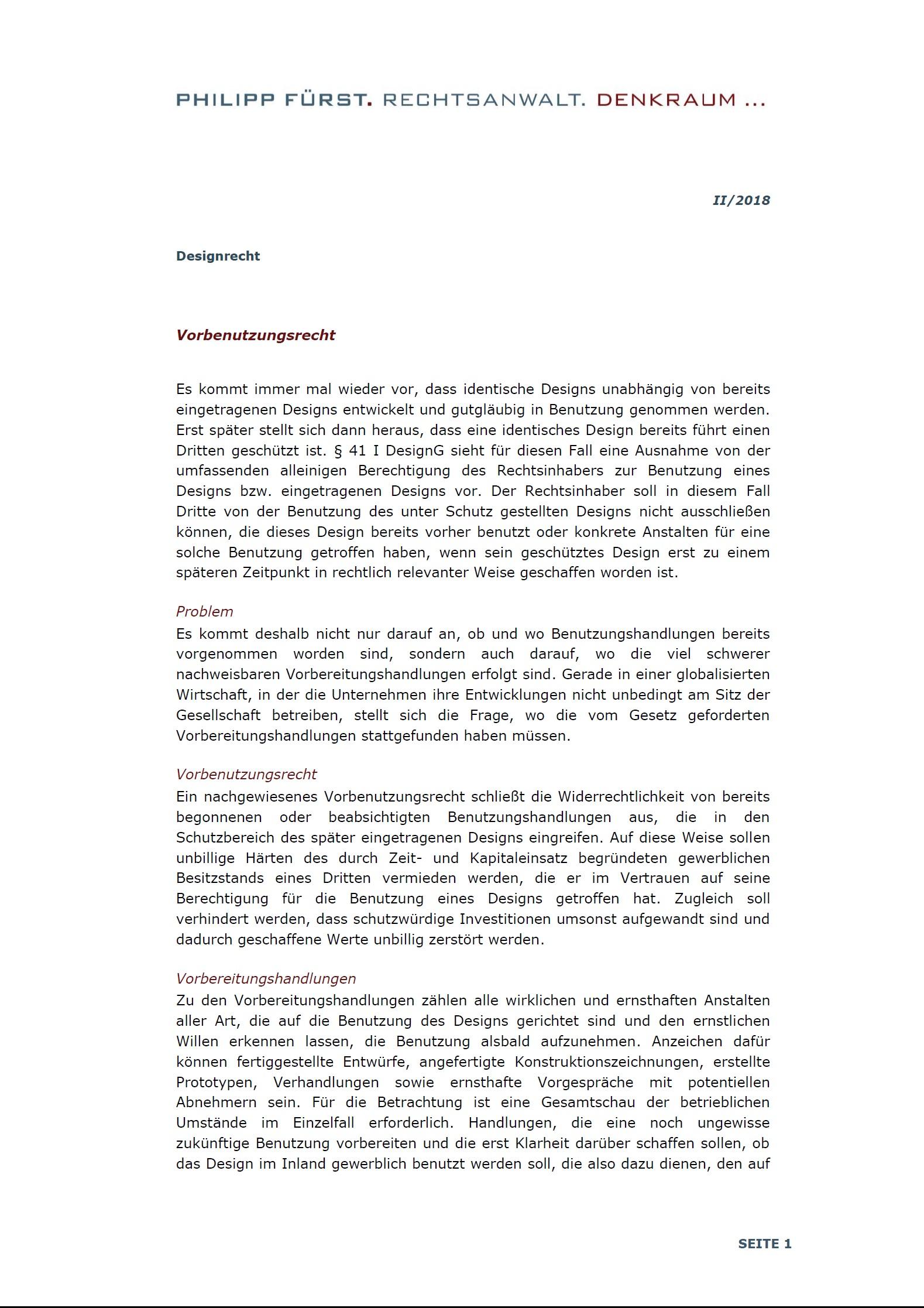 Cover zu Design - Vorbenutzungsrecht