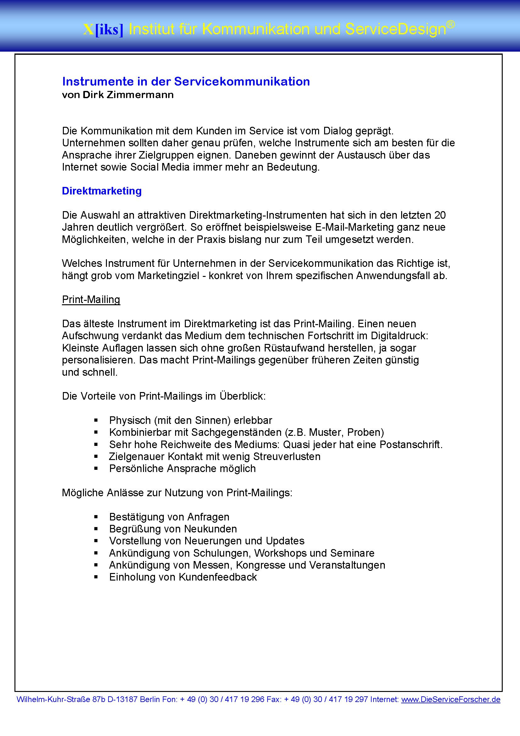 Cover zu Instrumente in der Servicekommunikation