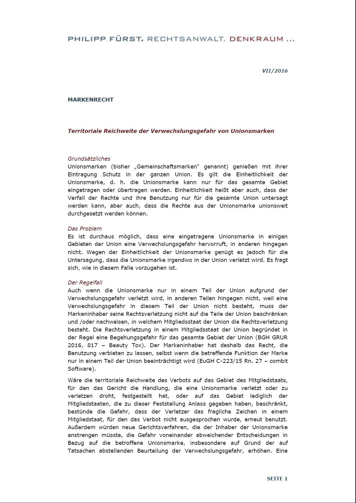 Cover zu Unionsmarke - Territoriale Reichweite der Verwechslungsgefahr
