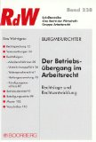 Cover zu Der Betriebsübergang im Arbeitsrecht