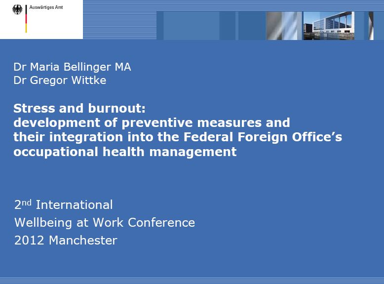 Cover zu Stress and burnout: development of preventive measures and their integration into the Federal Foreign Office's occupational health management