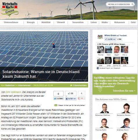 Cover zu Solarindustrie: Warum sie in Deutschland kaum eine Cance hat (WiWo Green, 2013)