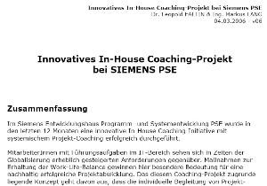 Cover zu Innovatives In-House Coaching-Projekt