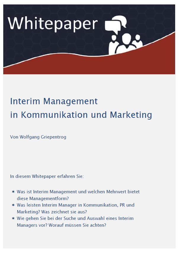 Cover zu Whitepaper: Interim Management  in Kommunikation und Marketing