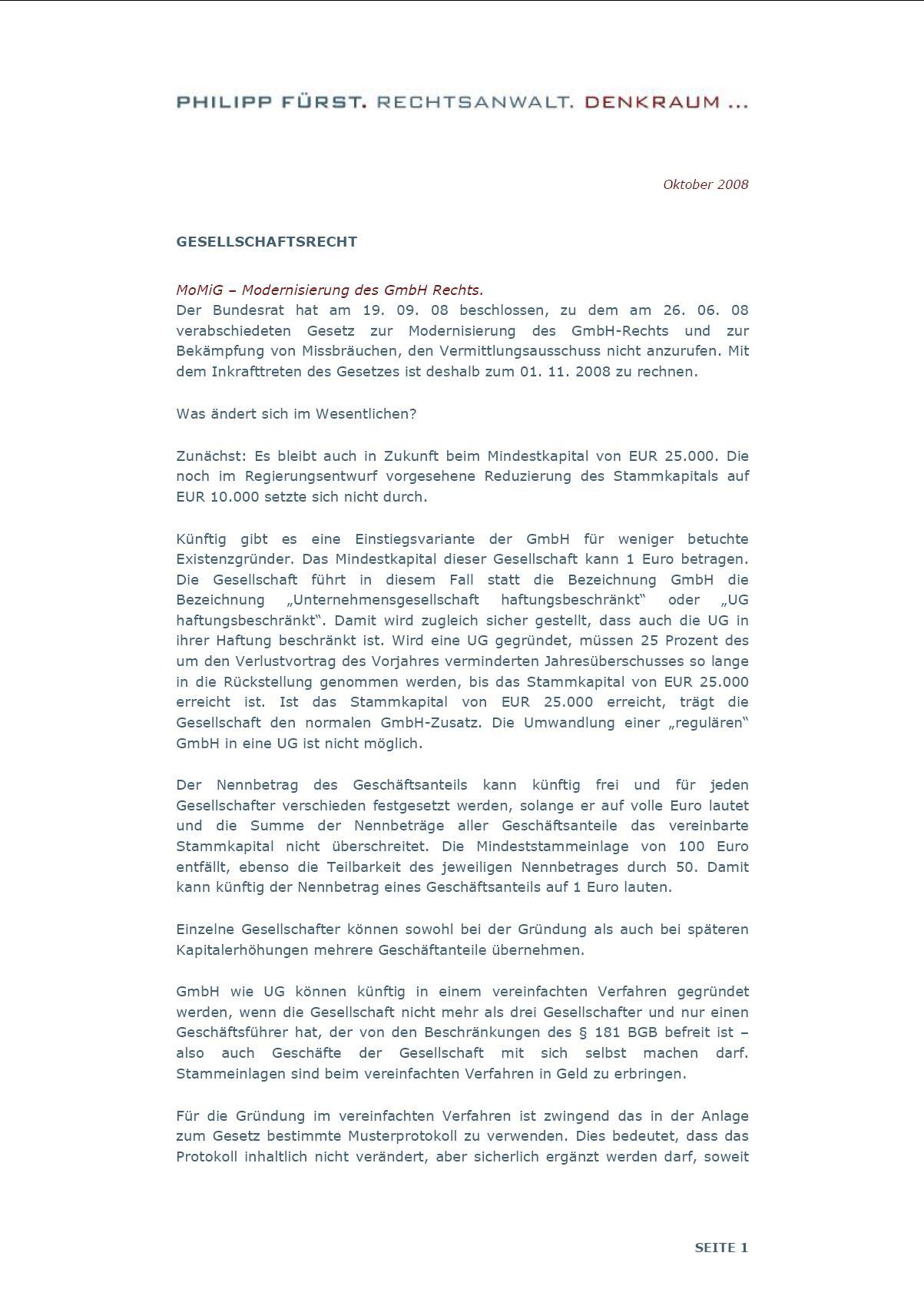 Cover zu MoMiG – Modernisierung des GmbH Rechts