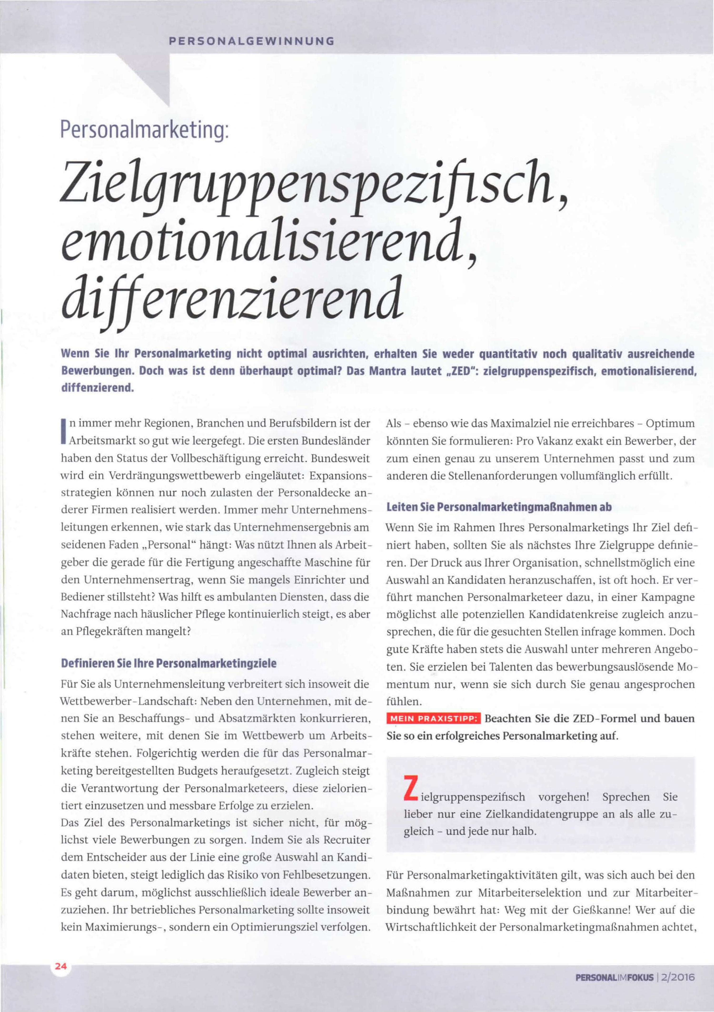 Cover zu Personalmarketing nach der ZED-Formel
