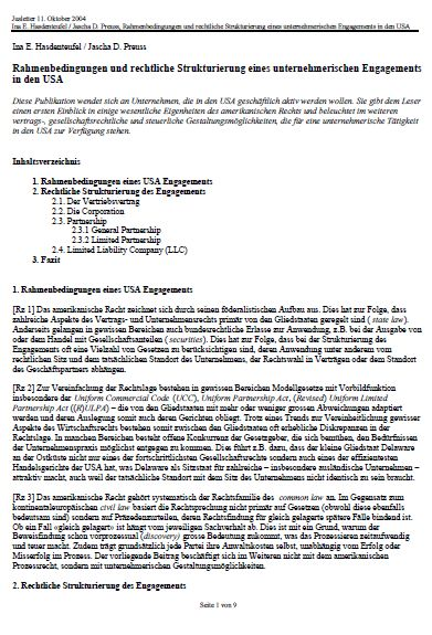 Cover zu Rahmenbedingungen und rechtliche Strukturierung eines unternehmerischen Engagements in den USA