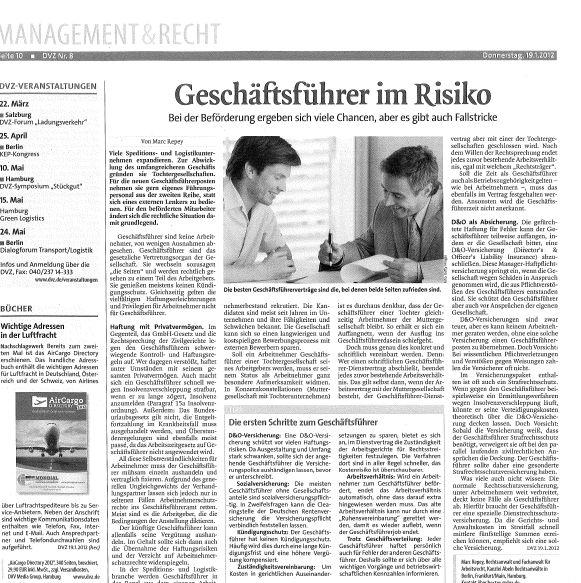 Cover zu Dt. Logistikzeitung: Geschäftsführer im Risiko