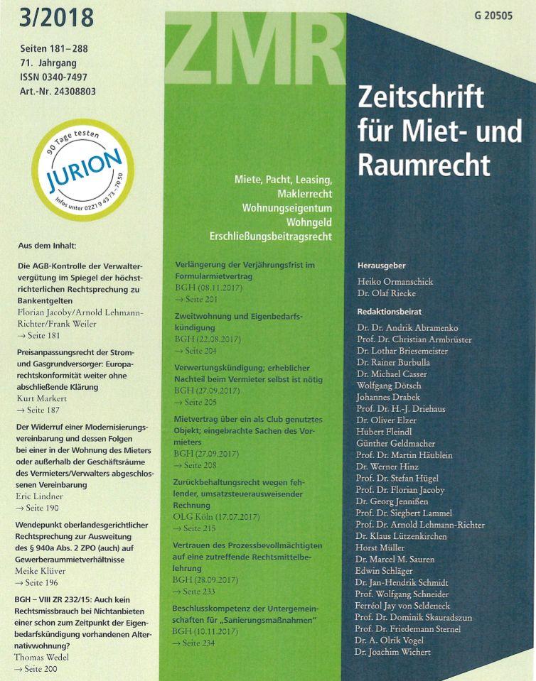 """Cover zu Rezension: """"Aktuelles Gewerberaummietrecht von Dr. Rainer Burbulla"""""""