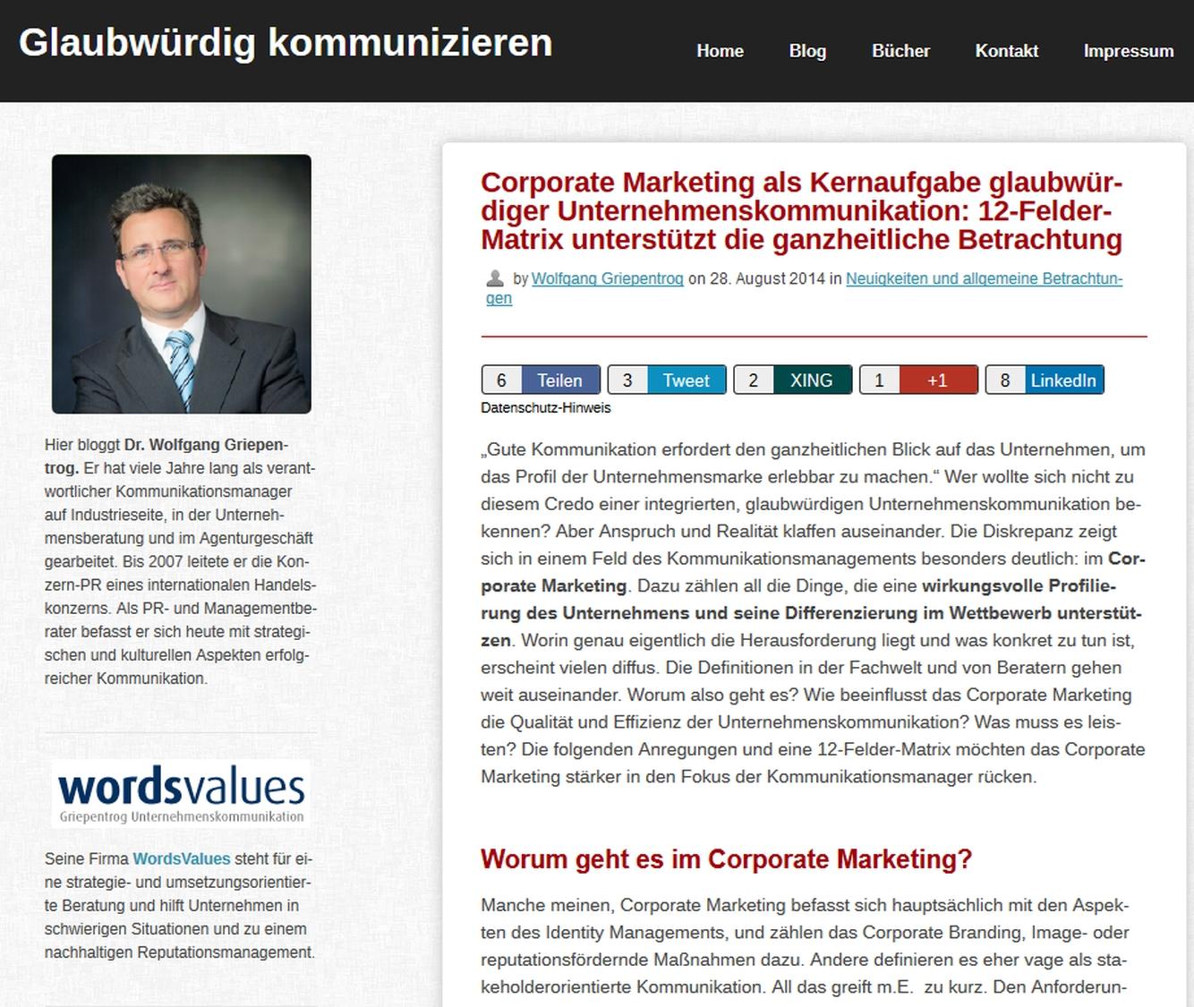 Cover zu Corporate Marketing als Kernaufgabe glaubwürdiger Unternehmenskommunikation