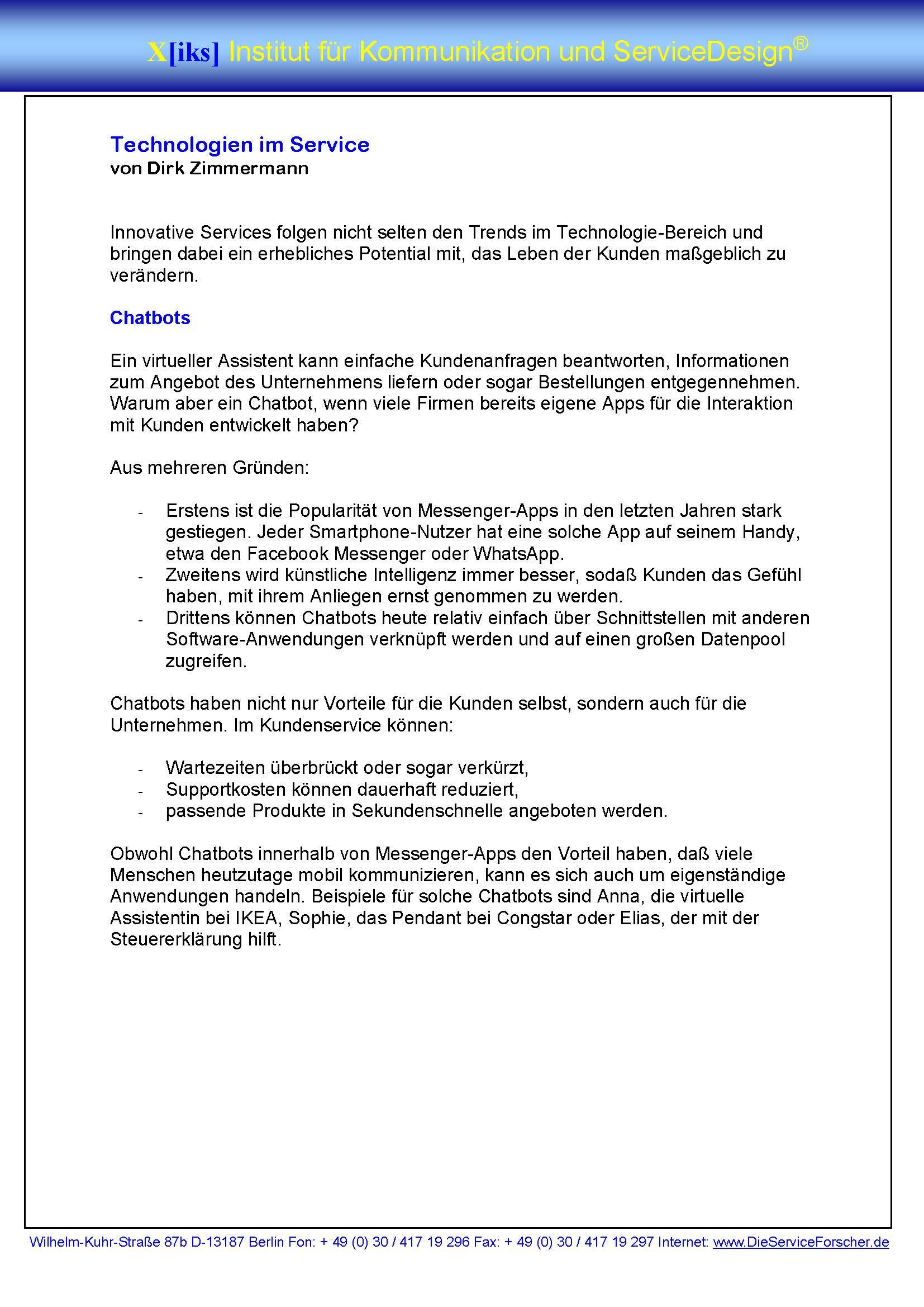 Cover zu Technologien im Service