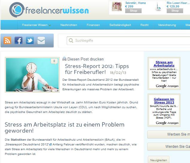 Cover zu Stress-Report 2012: Tipps für Freiberufler!