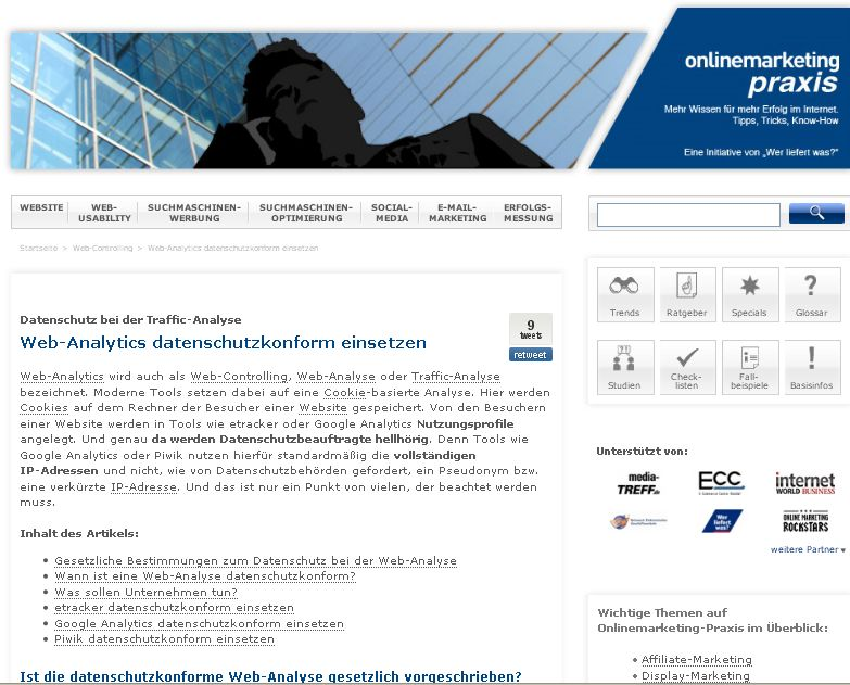 Cover zu Web-Analytics datenschutzkonform einsetzen