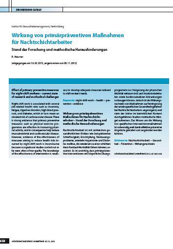 Cover zu Wirkung von primärpräventiven Maßnahmen für Nachtschichtarbeiter - Stand der Forschung und methodische Herausforderungen