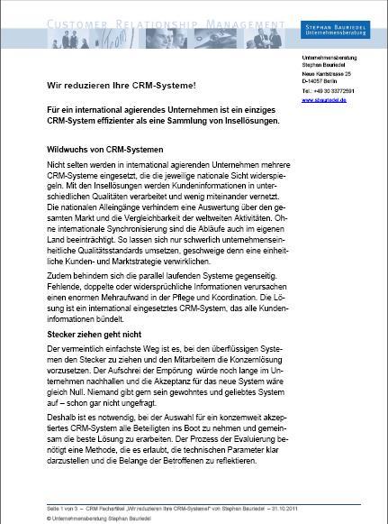 Cover zu Wir reduzieren Ihre CRM-Systeme!